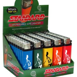 Standard Disposable Gas Lighter, Box of 50 | Philippines (colored body)