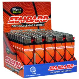 Standard Disposable Gas Lighter, Box of 50 | Basketball Design