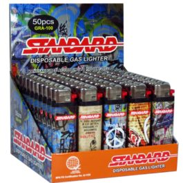 Standard Disposable Gas Lighter, Box of 50 | Graffiti