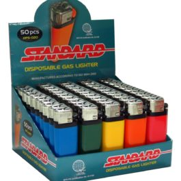 Standard Disposable Gas Lighter, Box of 50 | Solid Color (mini)