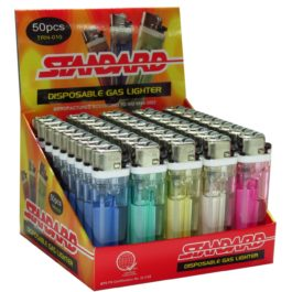 Standard Disposable Gas Lighter, Box of 50 | Crystal Colored